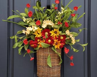 Spring Wreaths for Front Door, Country Flower Basket, Basket of Flowers, Spring Flower Baskets, Twig Flower Basket, Country Cottage Wreath