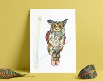 OWL // home decor// Art Print// boho // owl art // wall art  13x19, 11x14, 8.5x11, 8 x10, 5 x7