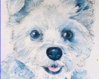 Custom Dog Portrait Sketch, 8x10