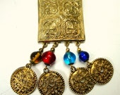 RESERVED Carla, SALE, Brassy Shield Pin w 4 Glass and Filigree Gold Dangles  Medieval Style Heraldic Brooch,OOAK