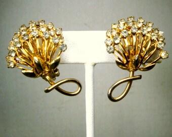 Rhinestone Glam Earrings, 1950s Clip Back Gold Unusual Flowers, Lyrical Elegant Mid Century Design, White Glass Stones on Goldtone Settings