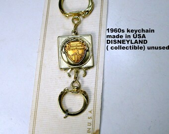 Keychain SALE, Disneyland Vintage Souvenir, Double Loops,  Made In USA, On Original Card, Unused 1970s or so