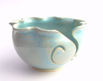 Handmade Pottery Knitting Bowl // Yarn Bowl in Ethereal  Blue
