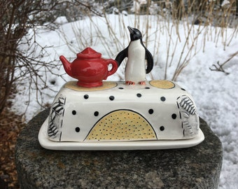 Butter Dish, Ceramic Butter Dish, Ceramic Sculpture,Pottery. Hand built, tilebyfire