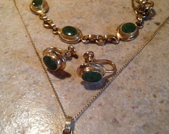 NEW Gold and Jade Pendant Necklace, Earrings, and Bracelet by Sarah Coventry