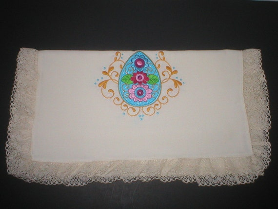 Lace Edged Easter Table Runner
