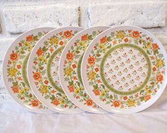 Vintage Mid Century Melamine Plates Set of 4 Four Floral Print Retro Kitchen White with Orange Green Yellow Dishes