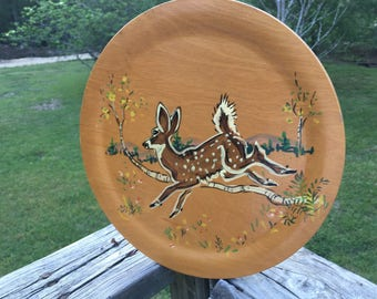 Vintage Rochester Round Wood Picture Tray Wildlife of Birchland Manuel and Lucille Miller Bethel VT. Deer Painting by Manuela Miller