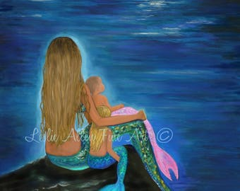 "Mermaid Art Mermaid Print Painting Mother Daughters Sisters Family Mom Mother Art  Decor Wall Art  ""MY LITTLE LOVES""  Leslie Allen Fine Art"