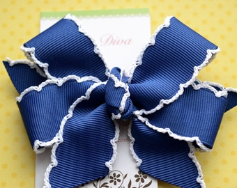 Dark Royal Blue with White Crochet Edge Classic Diva Bow