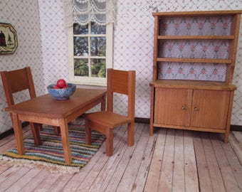 """Vintage Dollhouse German Furniture - Dining Table, 2 Chairs and Hutch - Small 1"""" Scale"""