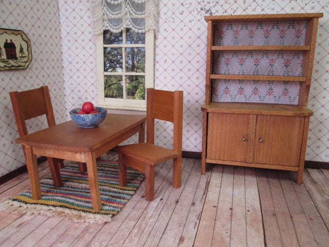 Vintage Dollhouse German Furniture Dining Table 2 Chairs