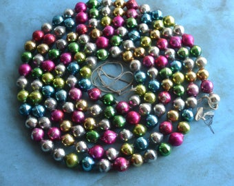 Vintage Multi Color Mercury Glass Christmas Garland Larger Beads