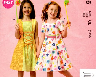 McCalls 6876 Sewing Pattern - Easy Girls Dresses and Petticoats - Sizes 6-7-8