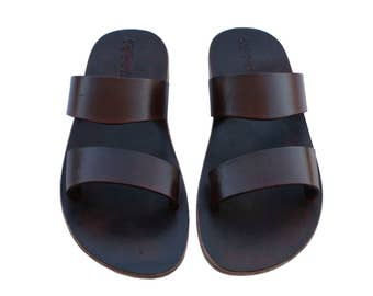 Dark Brown Bio All Leather Sandals For Men & Women - All Leather Soles - Handmade Unisex Sandals, Jesus Sandals, Genuine Leather Sandals