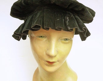 Antique Edwardian Black Velvet Floppy Hat Beret Victorian Downton Abbey gothic steampunk