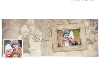 Photoshop Template | Christmas Facebook Timeline Cover | Subtle Focus Believe | 1 Digital Template for Personal & Business Pages.