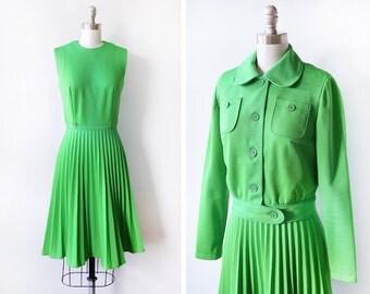 green mod dress, vintage 60s mod scooter dress jacket set, accordion pleated dress, xs/small