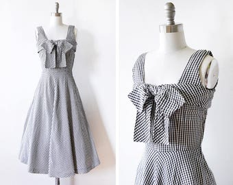 vintage 50s gingham dress, 1950s black and white gingham dress, 50s rockabilly party dress with bow, xxsmall