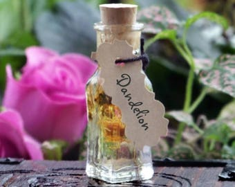 """DANDELION """"Artisan Alchemist""""™ """"Old European Witchcraft""""™ Master Crafted Infused Herbal Oil in Rare Squared Bottom Mini Glass Vial with Cork"""