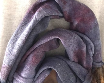 Infinity Scarf | Wearable Art | Fiber Art | Hand Dyed Cotton |  Handcrafted  Scarf