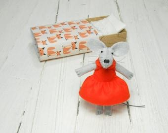Felt mouse in matchbox newborn girl plush doll orange brown orange fox birthday daughter kids gift stuffed animal felt mouse miniature
