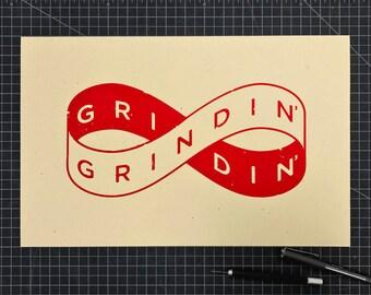 Grindin' 11x17 silkscreen print