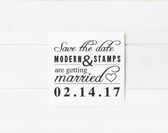 Custom Wedding Stamp   Save the Date Stamp   Custom Rubber Stamp   Custom Stamp   Personalized Stamp   Modern Save the Date   D16
