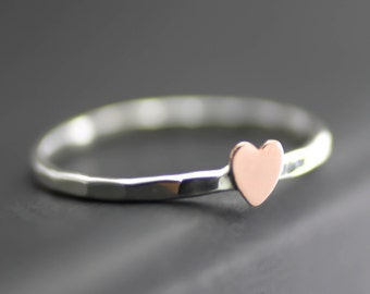 Tiny Heart Ring, Cupid Ring, Pink Heart, Copper Heart Stack Ring, Stack Ring, Sterling Silver, Midi Ring, Heart Ring, Custom Stack Ring