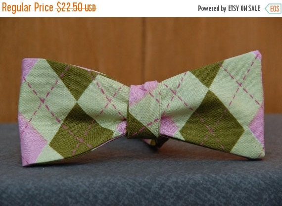 Pink and Green Argyle  Bow Tie