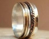 Sterling Silver Spinner Ring with Tri Metal Spinners in Gold Copper and Sterling Silver Multi Metal Spinner Fidget Ring