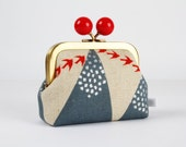 Metal frame coin purse with color bobble - Hills in gray - Color dad / Echino / japanese fabric / red birds swallows / metallic silver