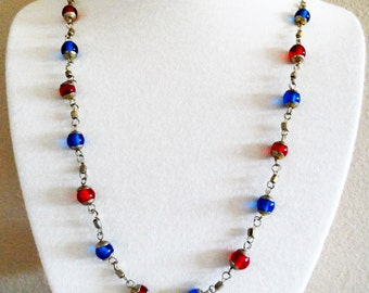 Silver Tone Red And Blue Beaded Vintage Necklace