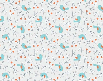 Sweet Autumn Day Blue Birds Organic Cotton Fabric from Cloud 9 Fabrics sold in 1/2 yard increments