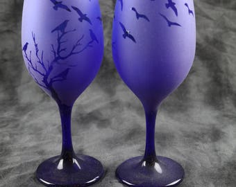 Fly away  Frosted  Stemmed Wine Glasses Set Of 2 in Multiple colors