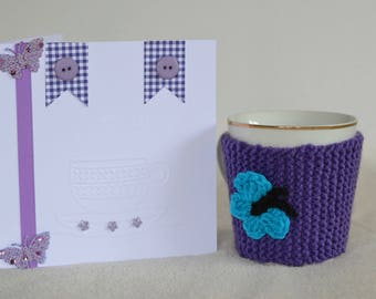 Knitted Butterfly Mug Cozy and Free Card