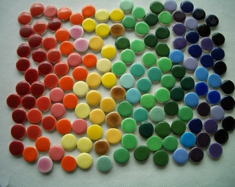 A150 - 150 pc RAINBOW of DOTS - Ceramic Mosaic Tiles
