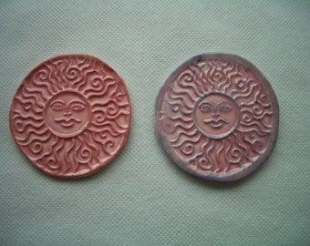 DELA -  2 PINK SUNS - Ceramic Wall Decor