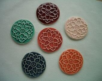 1234 - LG LOTUS FLOWER Stamped Tiles - Ceramic Mosaic Tiles