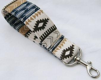 Southwest- Aztec- Tribal Stripe- Navy Khaki Stripe Key Fob