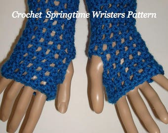 Pattern-Crochet-Springtime Fingerless Glove Wristers Pattern/Gauntlets (Pdf Format in digital download)May Sell The Finished Item/Gloves
