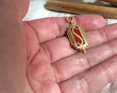 Vintage 10kt gold filled letter S charm, 10kt gold filled red enamel initial pendant S, last name first name S letter, monogram initial S