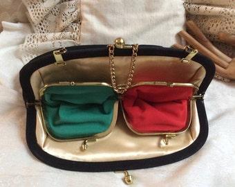 Vintage retro black fabric evening bag, black formal bag with interior pocket pouches, red green kiss lock pockets black dressy handbag