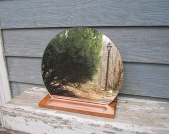 "Vintage Mid Century Modern Frameless 16"" Round Standing Mirror on Wood Valet Base for Dresser or Vanity"