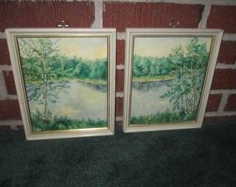 Vintage Little Pair of Framed Signed Summer Landscape Oil Paintings