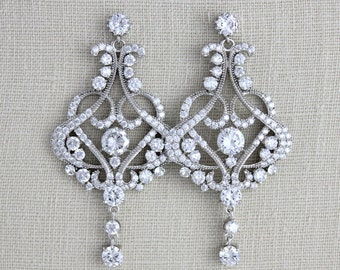 Rose gold Bridal earrings, Crystal Wedding earrings, Wedding jewelry, Chandelier earrings, Bridal jewelry, Rose Gold earrings VICTORIA