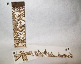 Tipi Thunderbird Art, OOAK Tribal Bookmarks, Pyrography Woodburning, Original Southwestern, Native American Inspired, Choose From 3