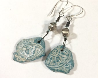 Stamped Blue Clay Earrings, Polymer Clay Earrings, Faux Pottery Shard Jewelry