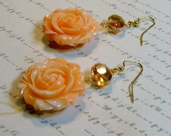 Peach Rose Earrings-resin and glass beads, 2 1/2 inches or 6.5 cm