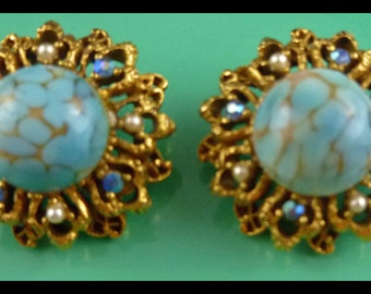 Collectible Vintage Florenza Turquoise and Pearl Earrings - Free U.S Shipping